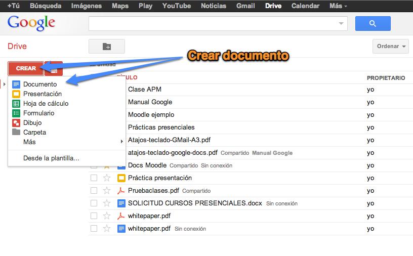 Resultado de imagen para como crear documentos en google drive